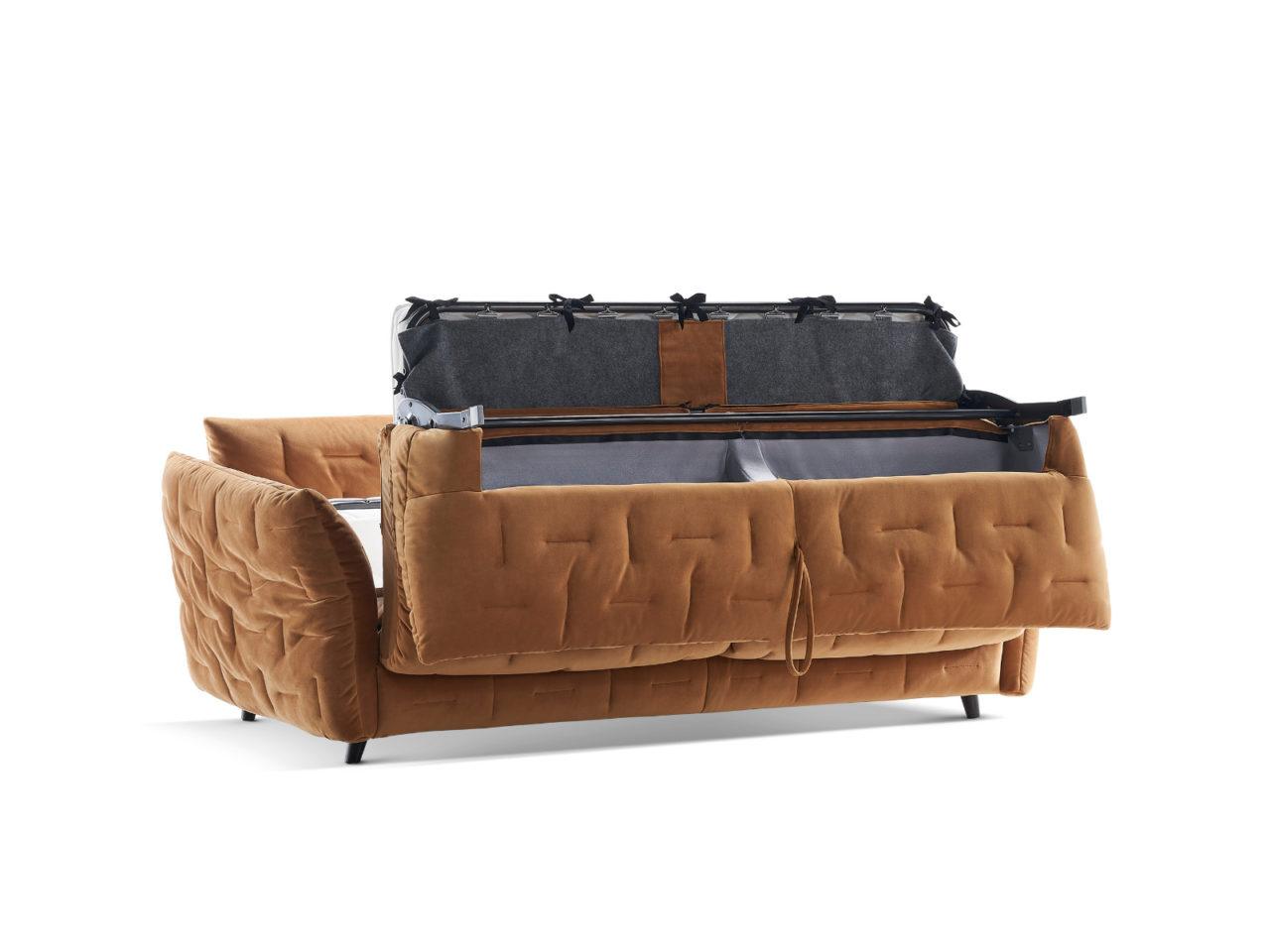 Particolare meccanismo letto divano classico Mithos